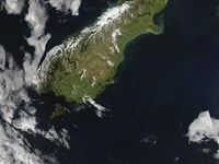 Satellite view of Most of the South Island of New Zealand - various sizes