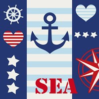 Maritime Stripe Sea by Andrea Haase - various sizes