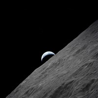 The crescent Earth Rises above the Lunar Horizon Fine Art Print
