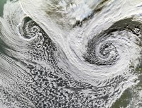 Two Cyclones Formed in Tandem south of Iceland  Scotland Appears in the Lower right - various sizes - $46.99
