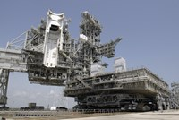 The mobile Launcher Platform is being moved via the Crawler-Transporter Underneath - various sizes