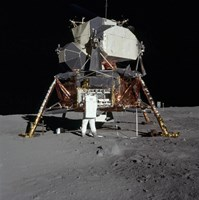An Apollo 11 aAtronaut in Front of the Lunar Module Fine Art Print