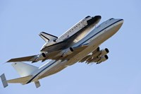 Space Shuttle Endeavour Mounted on a  Modified Boeing 747 Shuttle Carrier Aircraft Fine Art Print