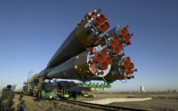The Soyuz Rocket is Rolled out to the Launch Pad at the Baikonur Cosmodrome in Kazakhstan - various sizes