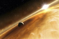 Artist's Concept of the Star Fomalhaut and a Jupiter-Type Planet Fine Art Print