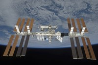 The International Space Station, Backdropped by the blackness of space and Earth's horizon - various sizes