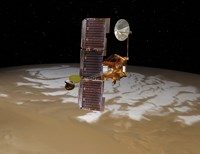 Mars Odyssey Spacecraft Passes Above Mars' South Pole Fine Art Print