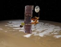 Mars Odyssey Spacecraft Passes Above Mars' South Pole Fine Art Print