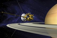 Artists Concept of Cassini during the Saturn Orbit Insertion Maneuver Fine Art Print