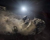A White Dwarf Star Surrounded by a Disintegrating Asteroid Fine Art Print