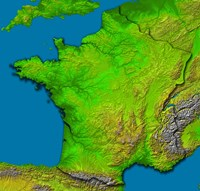 Topographic Image of France Showing Shaded Relief and Colored Height - various sizes - $47.99