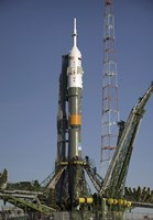 The Soyuz Rocket is Erected into Position at the Launch Pad at the Baikonur Cosmodrome in Kazakhstan - various sizes