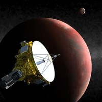 Artist's Concept of the New Horizons Spacecraft as it Approaches Pluto and its Largest Moon, Charon - various sizes