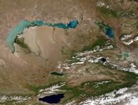 Satellite view of Lake Balkhash in Eastern Kazakhstan - various sizes