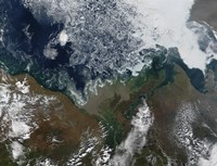 The Mackenzie River empties into Mackenzie Bay in Northern Canada - various sizes