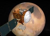 Mars Telecommunications Orbiter in Flight around Mars Fine Art Print