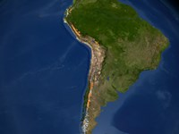 Glaciers in Regions of South America - various sizes
