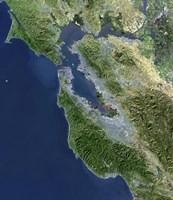 Satellite view of San Francisco, California - various sizes
