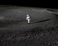 Spacesuit Engineer Simulates Work Inside a Crater in Johnson Space Center's Lunar Yard - various sizes