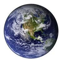 Full Earth Showing North America (white background) - various sizes