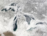 Satellite view of the Great Lakes Fine Art Print