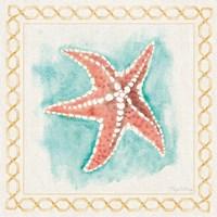 Coastal Mist Starfish Border Turquoise Fine Art Print