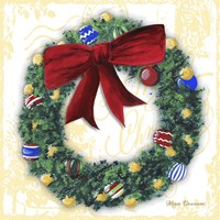 Pine Wreath With Red Ribbon Fine Art Print