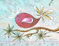 Pink Brown Bird With Notes And Branch - Full Design by Megan Duncanson - various sizes
