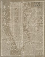 Blueprint Map New York Taupe Fine Art Print