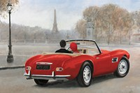 """A Ride in Paris III Red Car by Marco Fabiano - 36"""" x 24"""""""