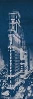 Times Square Postcard Blueprint Panel Framed Print