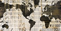 Crate World Map Neutral Fine Art Print