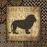 African Wild Lion Border Fine Art Print