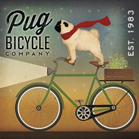 Pug on a Bike Framed Print
