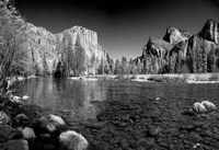 California Yosemite Valley view from the bank of Merced River Fine Art Print