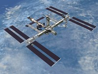 Computer Generated view of the International Space Station against the Blue Sky - various sizes