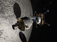 Concept of the Orion crew Exploration Vehicle Docked to a Lunar Lander in Lunar Orbit - various sizes