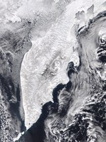 Satellite view of Kamchatka Peninsula, Eastern Russia Fine Art Print