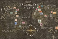 Old World Journey Stamps Black Fine Art Print