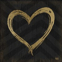 Chevron Sentiments Gold Heart Trio II Fine Art Print