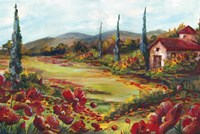 Tuscan Poppy Landscape by s - various sizes - $43.99