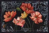 Flowers in Bloom Chalkboard Landscape by s - various sizes