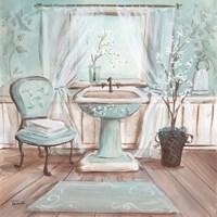 Aqua Blossom Bath I Framed Print