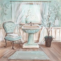 Aqua Blossom Bath I Fine Art Print