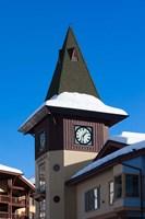 British Columbia, Sun Peaks Resort, clock tower by Walter Bibikow - various sizes, FulcrumGallery.com brand