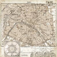 Euro Map I - Paris Fine Art Print