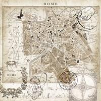 Euro Map II - Rome Framed Print