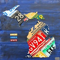 Michigan Blue License Plate Map Fine Art Print