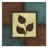 Blue Brown Green Leaves Framed Print