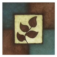 Blue Brown Green Leaves Mate Fine Art Print